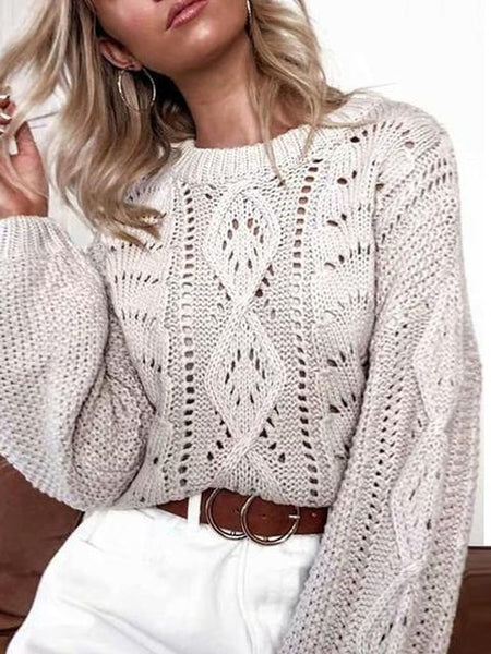 Hollow Solid Loose Sweater
