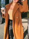 Jacket Autumn Winter Solid Color Long Coat