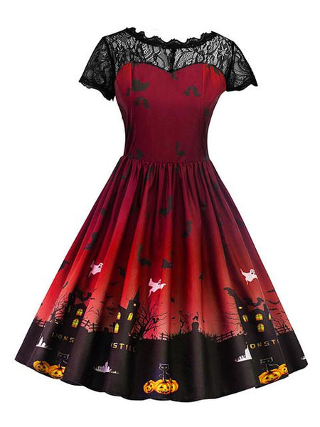 Lace Patchowrk Halloween Print Dress