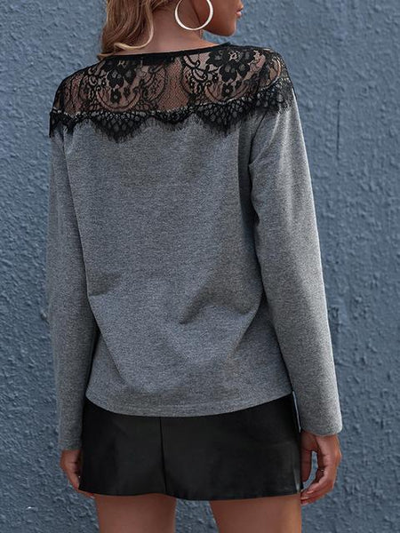 Lace Patchwork Causal T-shirt