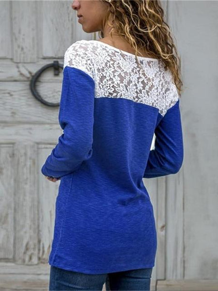 Lace Patchwork Long Sleeve T-shirts