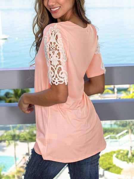 Lace Patchwork Short Sleeve Casual T-shirt