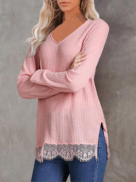 Lace Patchwork V-neck Tops
