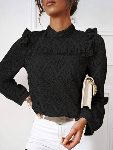 Lace Pleated Stitching Long Sleeve Tops