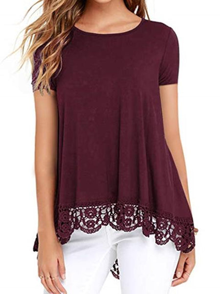 Lace Splicing Short Sleeve Casual Tops