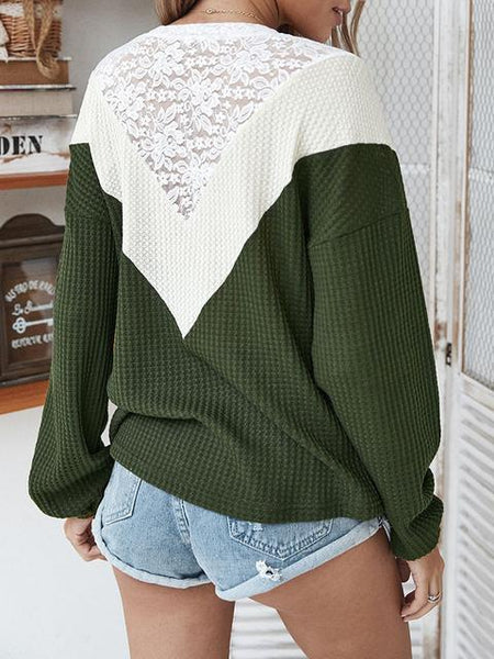 Lace Stitched Color Block Sweater