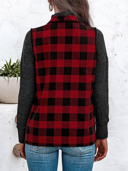Lapel Neck Plaid Print Vest