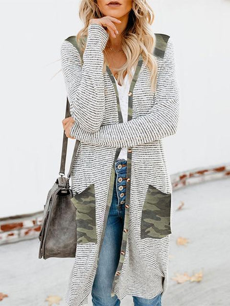 Leopard Camo Stitched Stripes Print Long Cardigan