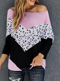 Leopard Color Block Loose T-shirt