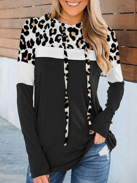Leopard Color Block Printed Drawstring Blouse