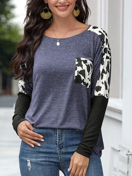 Leopard Color Block Round Neck Tops