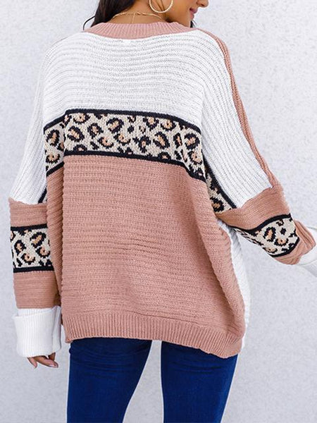 Leopard Contrast Color Loose Sweater