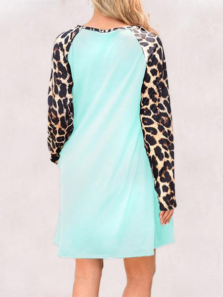 Leopard Long Sleeve Dress With Pockets