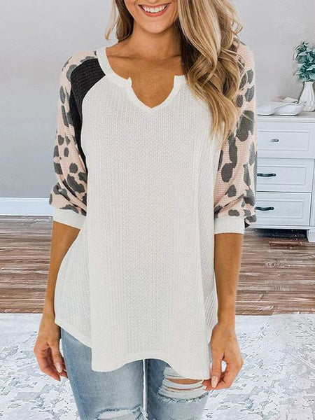 Leopard Patchwork Casual Waffle Tops