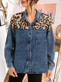 Leopard Patchwork Denim Shirt Coat
