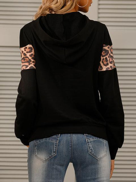 Leopard Patchwork Hooded Sweatshirt
