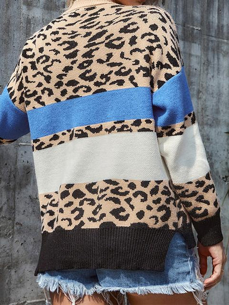 Leopard Patchwork Knitting Sweater
