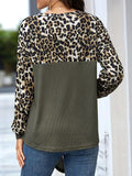 Leopard Patchwork Knotted Casual Tops