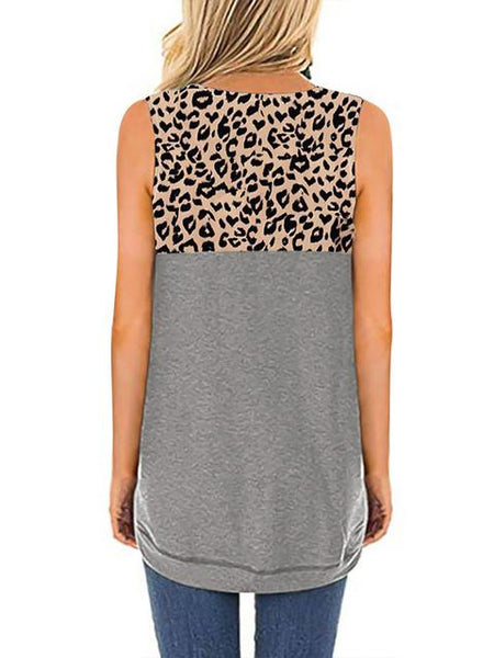 Leopard Patchwork Loose Tops