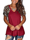 Leopard Patchwork Short Sleeve Tops