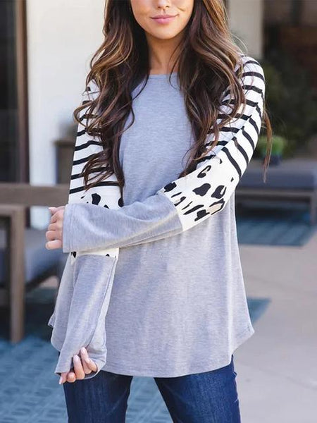 Leopard Patchwork Striped Loose Top