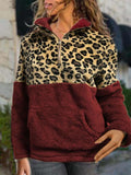 Leopard Patchwork Turtleneck Plush Pullover