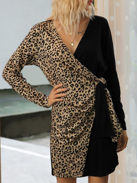 Leopard Patchwork V-neck Short Dress