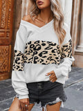 Leopard Patchwork V-neck Sweater