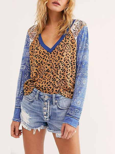 Leopard Patchwork V-neck T-shirt