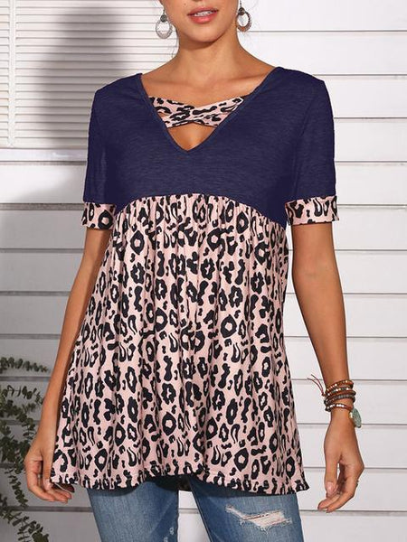 Leopard Patchwork V-neck Tunic Tops