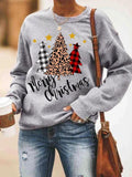 Leopard Plaid Christmas Casual Sweatshirt