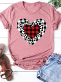 Leopard Plaid Print Heart-shaped T-shirt