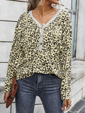 Leopard Print Button Up V-neck Tops
