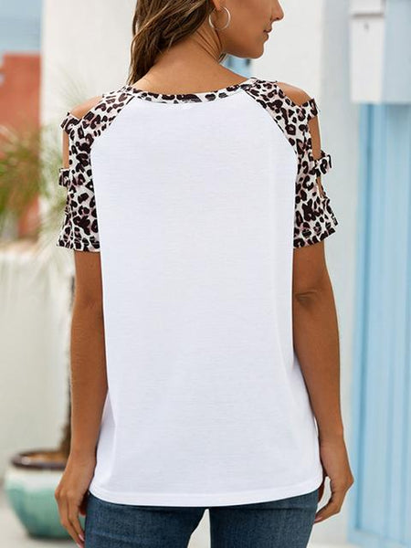 Leopard Print Cold Shoulder Casual T-shirt