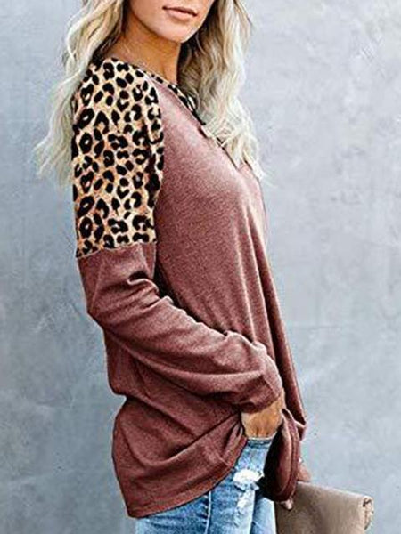 Leopard Print Color Block Casual T-shirt