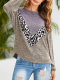 Leopard Print Color Block Pullover