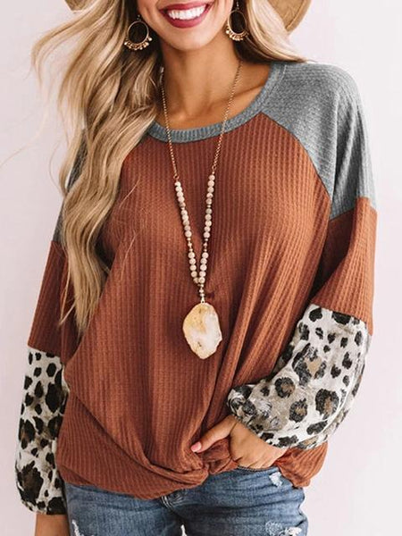 Leopard Print Contrast Color Twisted Tops