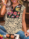 Leopard Print Floral Patchwork Casual Tops
