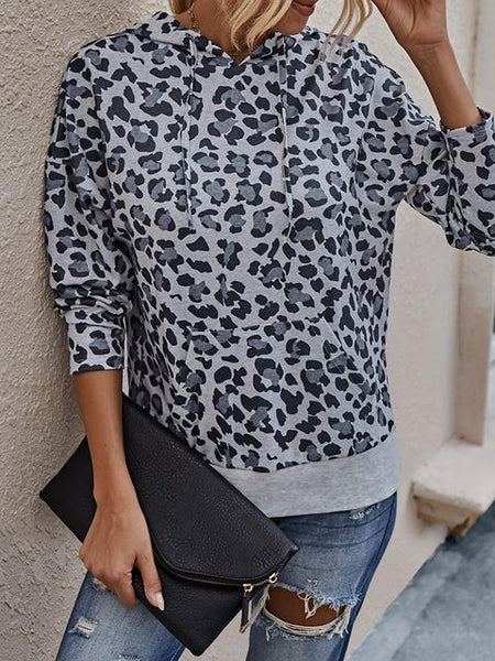 Leopard Print Hooded  Sweatshirt