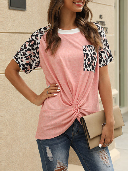 Leopard Print Knotted Short Sleeve T-shirt