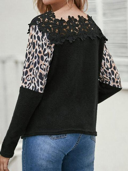 Leopard Print Lace Patchwork Top