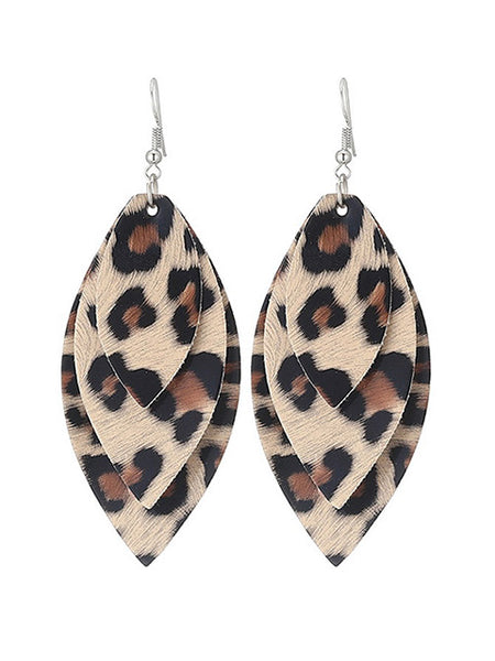 Leopard Print Leather Simple Earrings