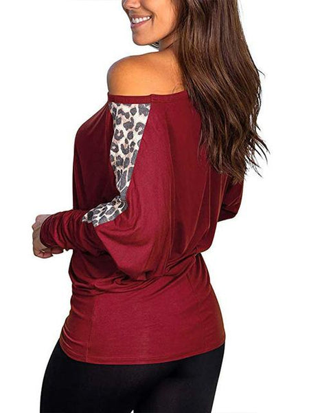 Leopard Print Long Sleeve Tops