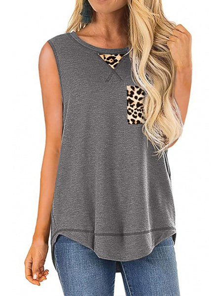 Leopard Print Patchwork Casual Tunic Top