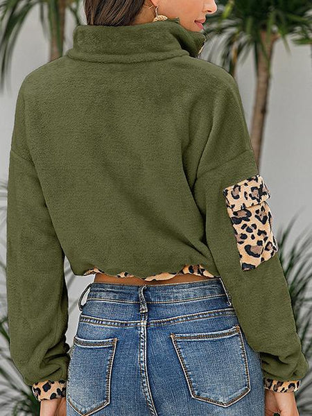 Leopard Print Plush Short Sweatshirt