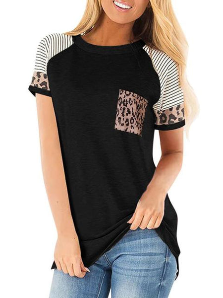 Leopard Print Short Sleeve T-shirt with Pocket