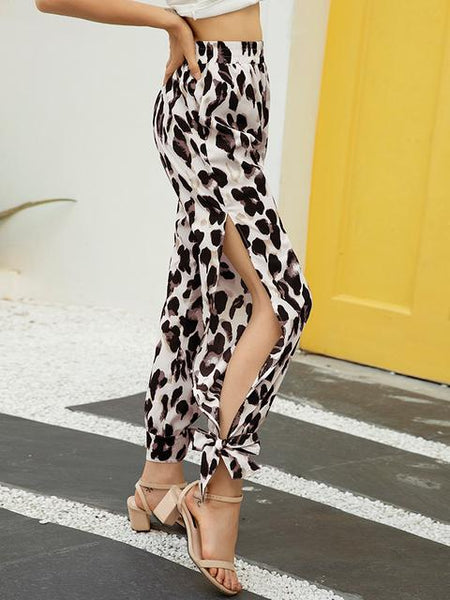 Leopard Print Side Slit Wide Leg Trousers