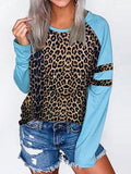 Leopard Print Sleeves Casual Tops