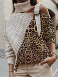Leopard Print Strapless Stitching Sweater