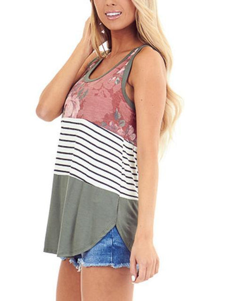 Leopard Print Stripe Patchwork Sleeveless Tanks